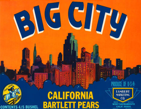 CRATE LABEL BIG CITY CALIFORNIA BARTLETT PEARS USA PRODUCE VINTAGE POSTER REPRO