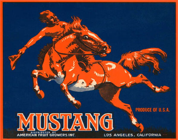 CRATE LABEL MUSTANG WILD RED HORSE RIDING PRODUCE OF USA VINTAGE POSTER REPRO
