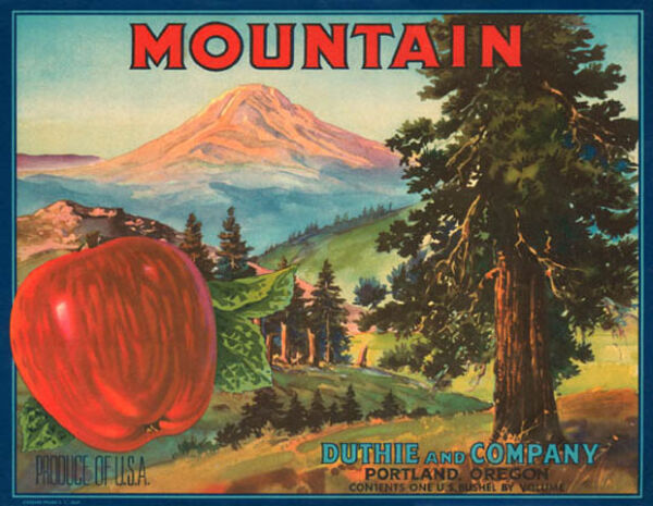 CRATE LABEL MOUNTAIN RED APPLE OREGON FRUIT PRODUCE OF USA VINTAGE POSTER REPRO