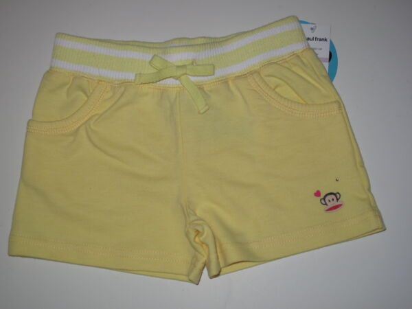 NWT Paul Frank *6* Girls Yellow Sweatpant Shorts Pants Julius Monkey Summer