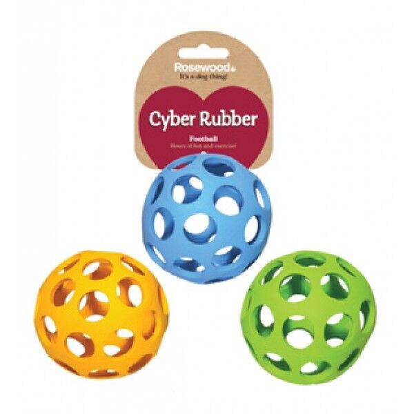 Lattice Cyber Football Ball Dog Puppy Toy Rubber Strong Interactive $11.73