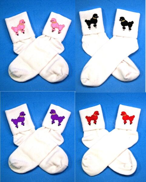 50s Retro Girls Ladies White Bobbie Bobby Socks Choose Sz Color Poodle FREE SHP