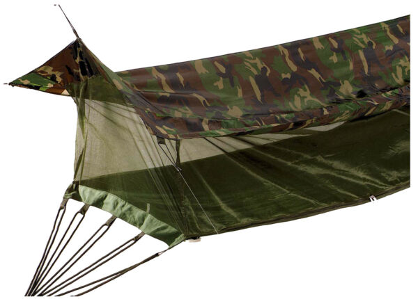Jungle Hammock Insect Mesh Netting Coated Roof Woodland Camo One Person 2365 $70.99