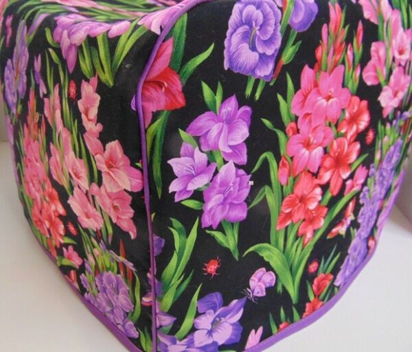 Gladiolus Floral Flowers Quilted Fabric 2 Slice or 4 Slice Toaster Cover NEW