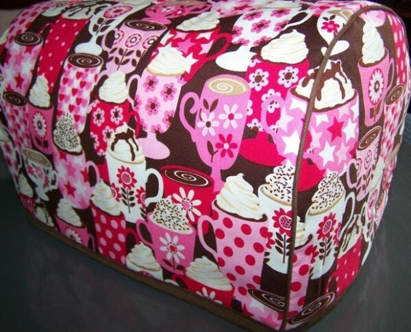 Hot Chocolate Drinks Quilted Fabric 2 Slice or 4 Slice Toaster Cover NEW