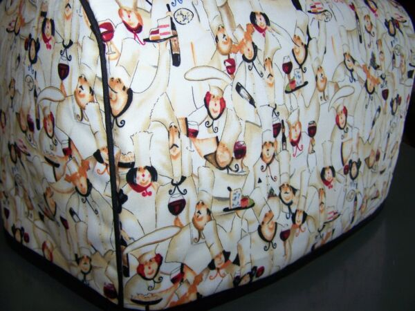 Fat French Chef Quilted Fabric 2 Slice or 4 Slice Toaster Cover NEW