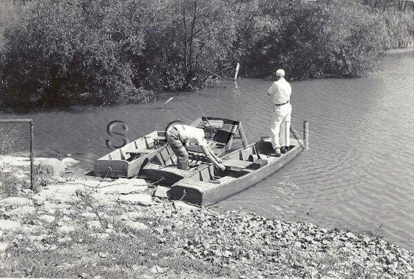Vintage Large Real Photo- Fishing Trip- Lake- Fishing Boat- Casts Line- 30s-40s