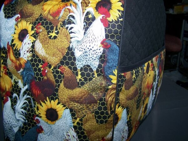 Roosters & Sunflowers Quilted Fabric Keurig Platinum Brewer Cover NEW