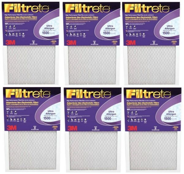 3M Purple Ultra Allergen Filtrete Filter Furnace  Air Filter #1500 (lot of 6)