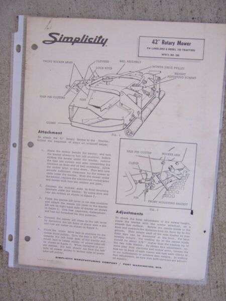 Simplicity 42 Inch Rotary Mower Attachment Parts List Landlord 726 Tractor R