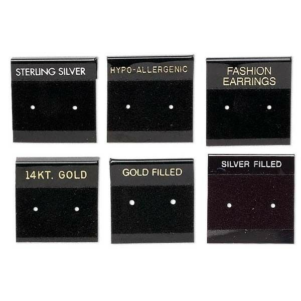 6 Black 1 Inch Square Printed Earring Display Cards with Hanging Tab
