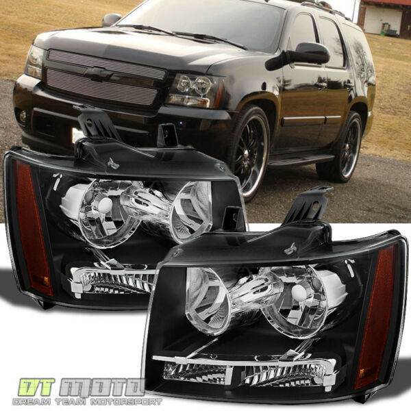 Black 2007 2014 Chevy Suburban Tahoe Avalanche Headlights Aftermarket LeftRight $109.99