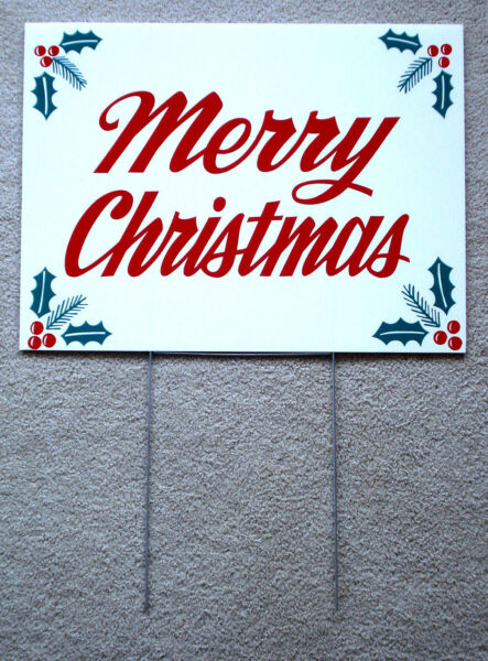 MERRY CHRISTMAS Coroplast SIGN 18x24  with Stake