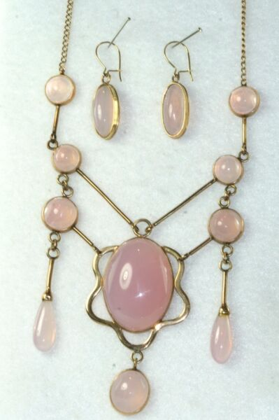 EDWARDIAN ANTIQUE VINTAGE 14K 10K GOLD PINK MOONSTONE FESTOON NECKLACE SET