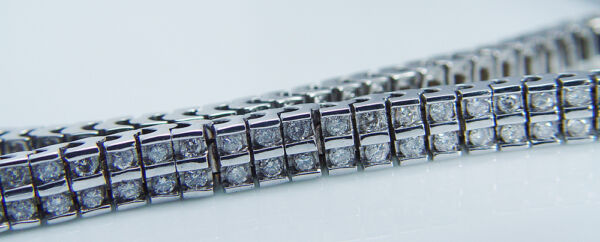 Vintage 14K White Gold Two Rows 2.80ct Diamonds Tennis Bracelet 21.5gr 7-516