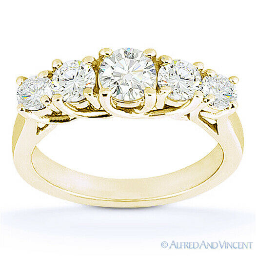 Round Cut Forever Brilliant Moissanite 14k Yellow Gold Trellis Wedding Ring Band