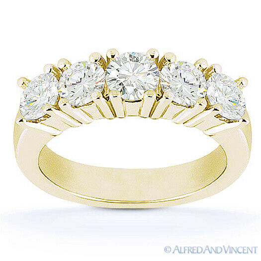 Round Cut Forever Brilliant Moissanite 14k Yellow Gold 5-Stone Band Wedding Ring