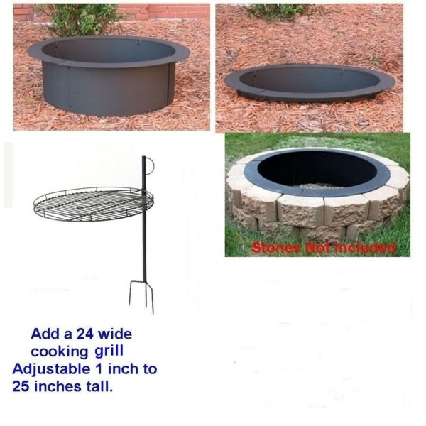 4 Pc DIY Round Steel Fire Pit Ring Rim Kit 27