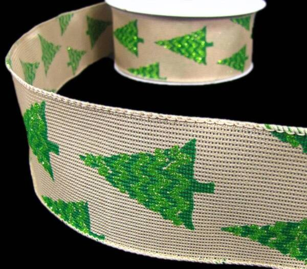 5 Yds Christmas Green Glitter Christmas Tree Burlap Like Wired Ribbon 2 1 2quot;W