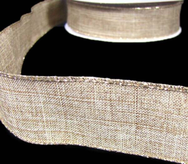 5 Yds Natural Brown Tan Beige Rustic Primitive Burlap Like Wired Ribbon 1 1 2quot;W