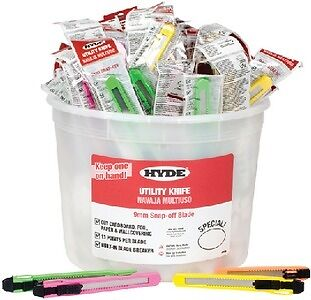 New Pail Of Utility Knives hyde Tools 49697 18mm Assorted