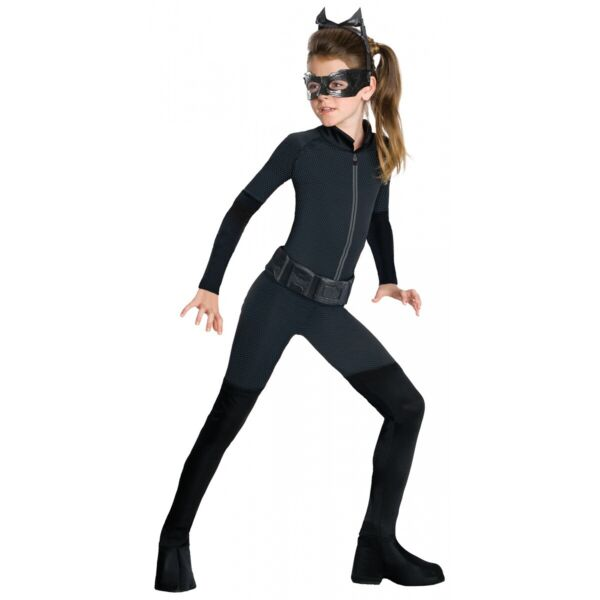 Catwoman Costume Kids Superhero Cat Woman Halloween Fancy Dress