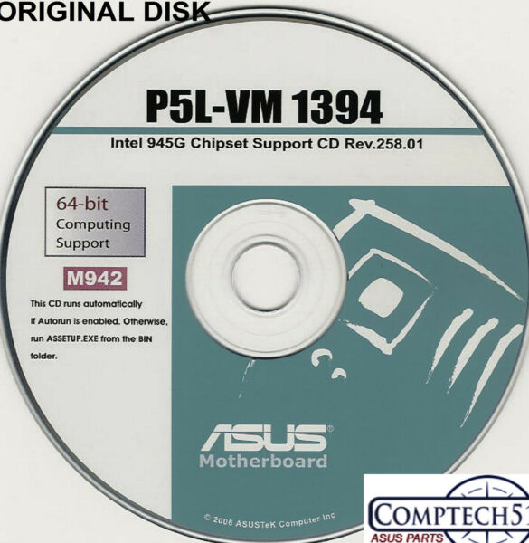 ASUS GENUINE VINTAGE ORIGINAL DISK FOR P5L-VM 1394 Motherboard Drivers Disk M942