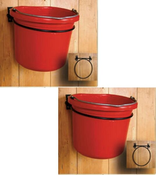 (2) Scenic Road Mfg # SR250 Wall Mount Fold Down Feed & Water Pail Ring Holders