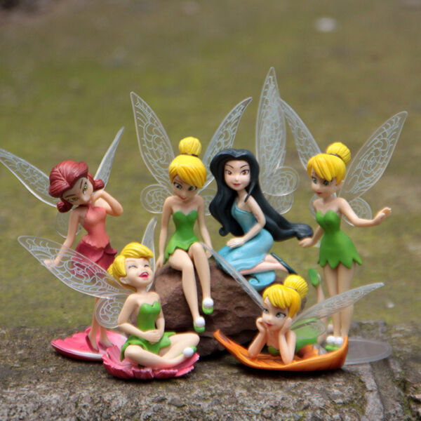 Tinkerbell Tinker Bell Fairy Girls Dolls 6pcs Figures Cake Topper Party Toy Gift