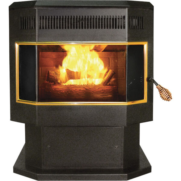 HEATER Pellet Stove with Bay Window - 42000 BTU - Blower - 265 CFM - 2000 Sqft