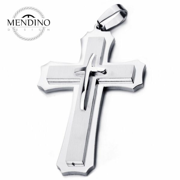 MENDINO Heavy Large Men#x27;s Stainless Steel Pendant Necklace Cross Polished Silver $18.99