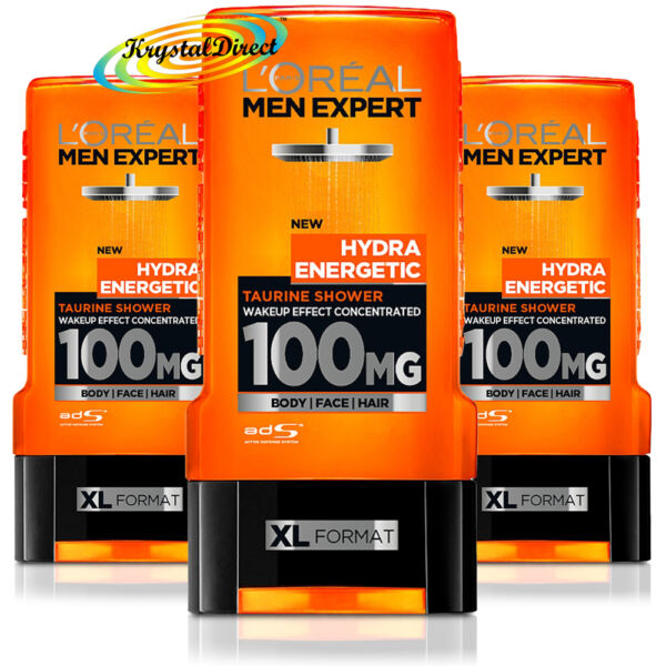 3x L'Oreal Men Expert Hydra Energetic Taurine Shower Gel 300ml Face Body