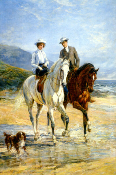 PLEASANT COMPANY ROMANTIC BEACH HORSE RIDING PAINTING BY HEYWOOD HARDY REPRO
