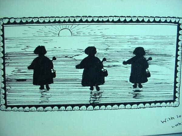 Lovely Antique Watercolor Painting Silhouette 3 Children At Beach Pails Shovels