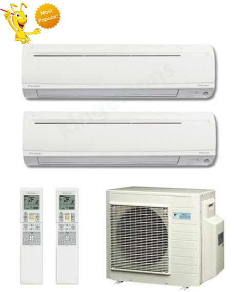 18000 + 18000 Btu Daikin Dual Zone Ductless Wall Mount Heat Pump Air Conditioner
