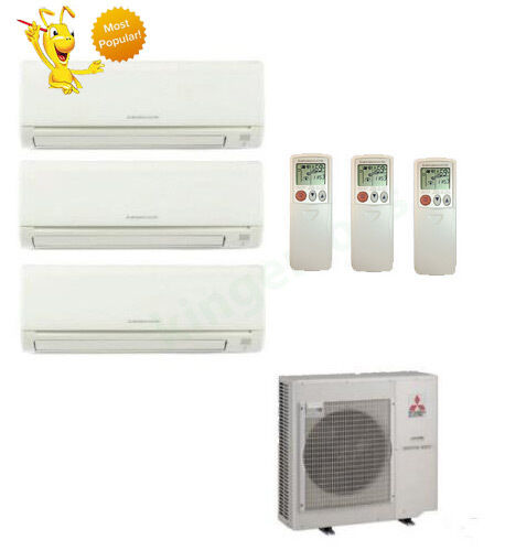 9k + 12k + 24k Btu Mitsubishi Tri Zone Ductless Wall Mount Heat Pump AC