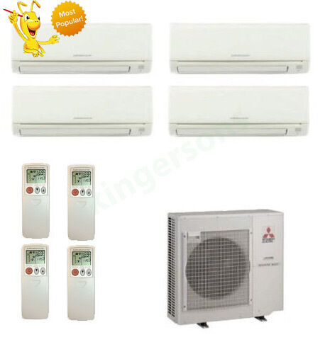 9k + 12k + 12k + 12k Btu Mitsubishi Quad Zone Ductless Wall Mount Heat Pump AC