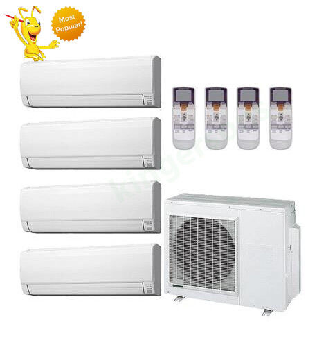 9k + 12k + 12k + 18k Btu Fujitsu Quad Zone Ductless Wall Mount Heat Pump AC