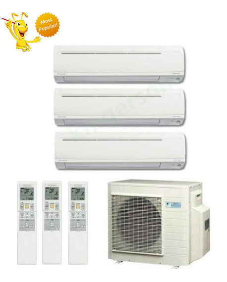 9k + 9k + 18k Btu Daikin Tri Zone Ductless Wall Mount Heat Pump Air Conditioner