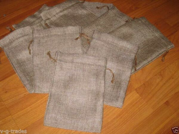 LOT OF 10 Linen Burlap Style Drawstring Pouch Wedding Party Favor Bags 5X7 4X6