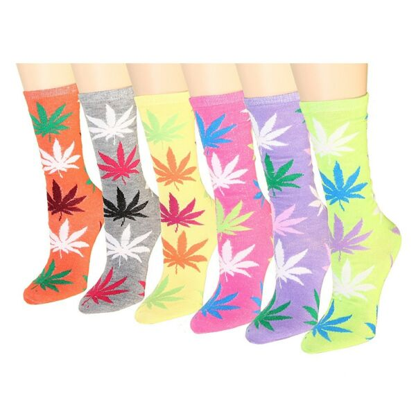 New 12 Pairs Womens Marijuana Weed Leaf Crew Socks Cotton Fashion Casual Quarter
