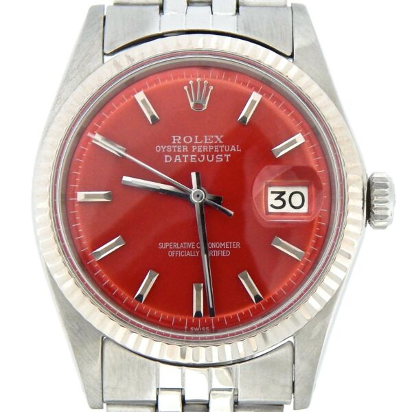 Rolex Datejust Mens Stainless Steel 18K White Gold w Jubilee Band Red Dial 1601
