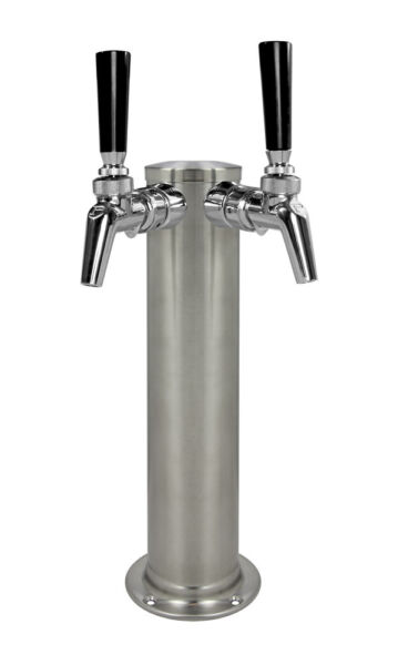 Kegco DT145 2BS 630SS 14quot; 2 Tap Brushed Stainless Steel Tower Perlick Faucets