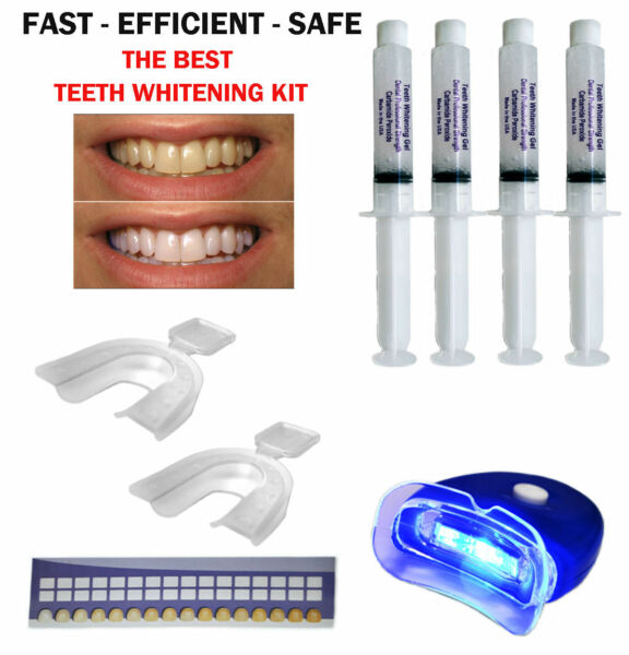 44% TEETH WHITENING PROFESSIONAL DENTAL SYSTEM KIT AT HOME 4 GEL + 1 LIGHT USA ! $9.25