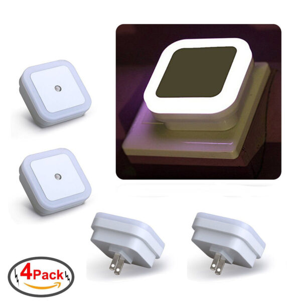 Plug in LED Night Light Wall Lamp w Dusk to Dawn Sensor White 0.5w 4 Pack
