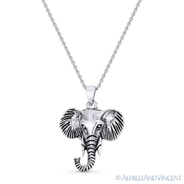 Elephant Head Animal Charm Pendant & Cable Chain Necklace in 925 Sterling Silver