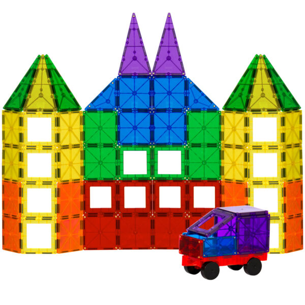 BCP 100-Piece Clear Multi Colors Magnetic Tiles Building Set Car