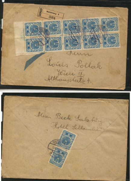 Austria  large  registered cover local use  1923         MS0626