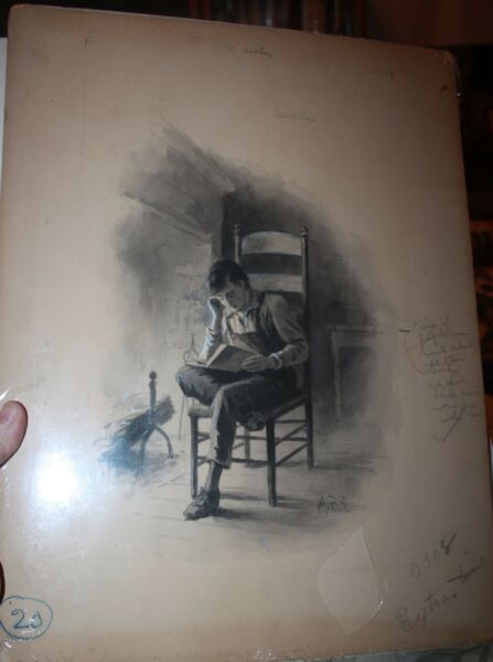 Abe Lincoln reading in front of Fireplace Illustrator Art early 20th Century