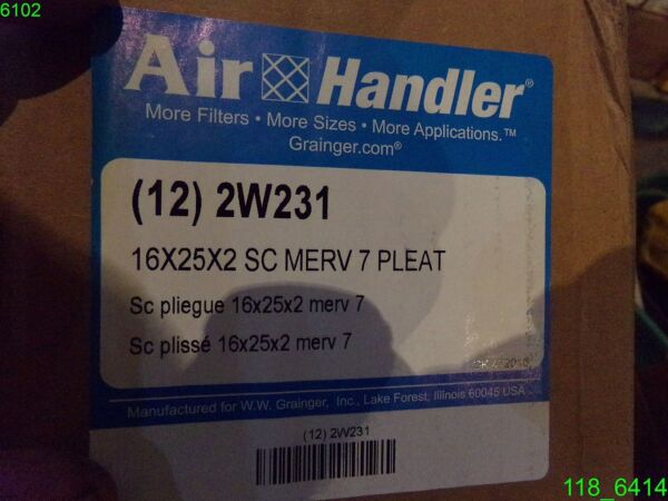 AIR HANDLER 16X25X2 PLEATED FURNACE AIR FILTER- 12 PACK - 2W231 - NEW